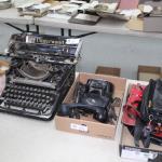 Antique phone and typewriter