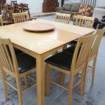 Maple Table and 8 chairs , leaf in , lazy susan