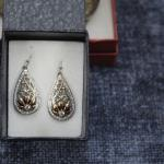 NEW Montana Silver Tear Drop Earring set Silver and Gold with stone